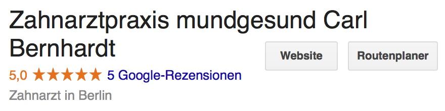 Zahnarztpraxis Mundgesund Carl Bernhardt Berlin Google Bewertung